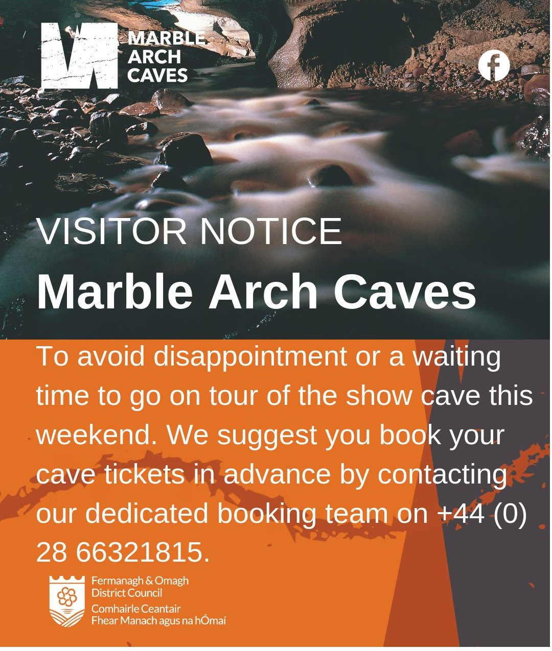 VISITOR NOTICE MARBLE ARCH CAVES